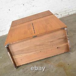Vintage Scandinavian Modern Teak Drop Front Desk Secretary in a Box 1960-2000