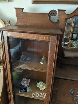 Vintage Side by Side Wooden Bookcase Display Cabinet With Secretary Desk