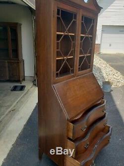 Vintage Skandia Furniture Co. Secretary Desk Serpentine Front Bookcase