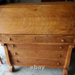 Vintage Slant Front Secretary Desk 4 Drawers Lots of Compartments