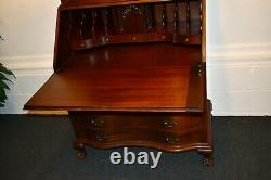 Vintage Solid Mahogany Chippendale Style Secretary Desk withBall & Claw Foot