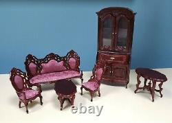 Vintage Victorian Dollhouse Miniature Living Room Set W Secretary Desk 112