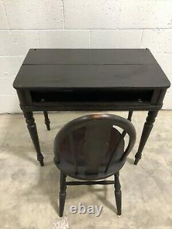 Vintage Writing Desk Secretary Black With Chair Fold Down Small Wooden