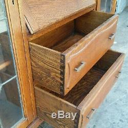Vtg Oak Side By Side Leaded Glass Bookcase Drop Front Desk Secretary England