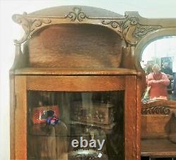 Vtg Tiger Oak SIDE BY SIDE BOWED / BENT GLASS SECRETARY DESK China Bookcase