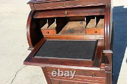 Walnut Victorian Original Finish Cylinder Roll Desk w 3 Drawers & Fancy Gallery