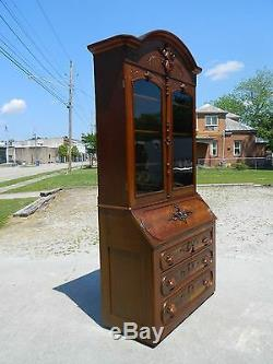 Walnut Victorian Secretary Bookcase Curio TopDated 1868