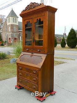 Walnut Victorian Slant Front Secretary Desk with Bookcase Top c 1865