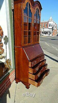 William & Mary colonial cherry slat top secretary desk curio Cabinet by Jasper