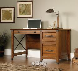 Wooden Desk With Drawers File Cabinet Vintage Secretary Retro Traditional Brown